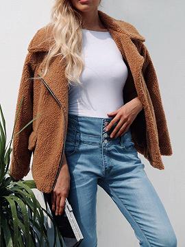 Brown Lapel Long Sleeve Women Faux Fur Coat
