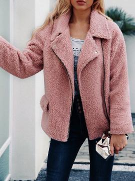 Pink Lapel Long Sleeve Women Faux Fur Coat
