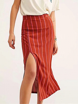 Red Stripe High Waist Thigh Split Side Women Midi Skirt