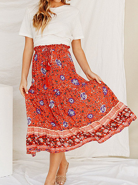Red Cotton High Waist Floral Print Women Midi Skirt