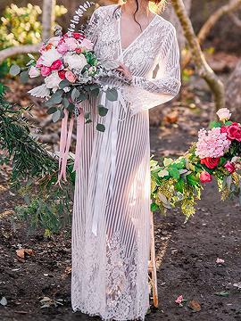 White Tie Waist Long Sleeve Women Lace Longline Kimono