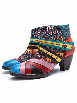 Polychrome Leather Look Folk Print Women Heeled Ankle Boots