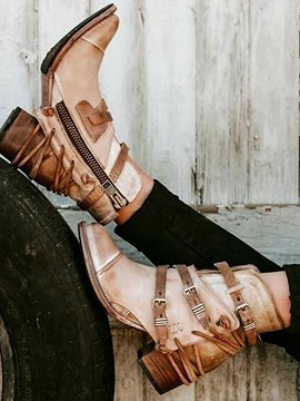 Khaki Leather Look Lace Up Buckle Strap Women Heeled Ankle Boots