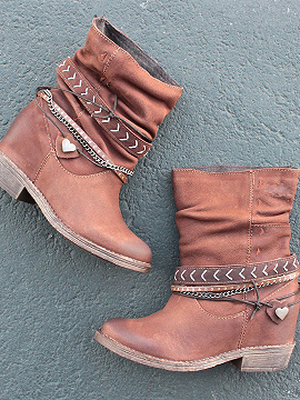 Brown Leather Look Chain Detail Women Flat Ankle Boots