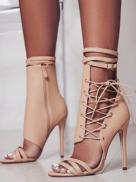 Beige Leather Look Eyelet Lace Up Cut Out Detail Heeled Ankle Boots