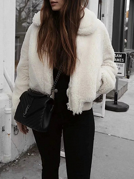 White Lapel Long Sleeve Women Faux Fur Coat