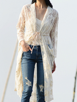 Beige Drawstring Waist Long Sleeve Women Kimono
