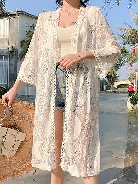 White Open Front Long Sleeve Women Lace Kimono