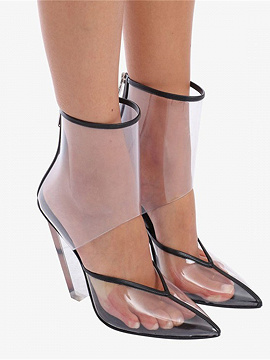 White Transparent Panel Pointed High Heeled Ankle Boots