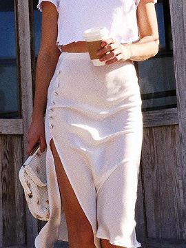 White High Waist Split Side Midi Skirt