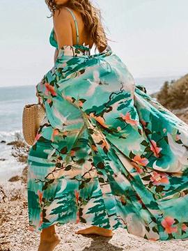 Green Print Detail Tie Waist Flare Sleeve Longline Kimono