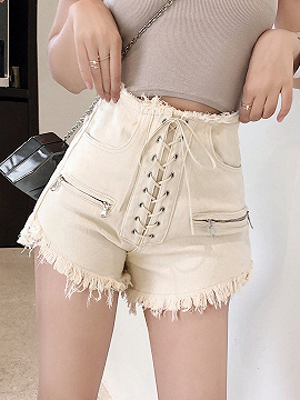 White High Waist Eyelet Lace Up Front Fur Trim Shorts