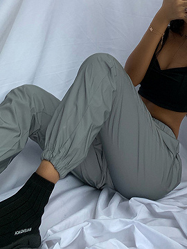 Gray High Waist Reflective Ankle Banded Pants