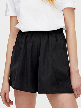 Black High Waist Frill Trim Shorts