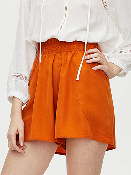 Orange High Waist Frill Trim Shorts