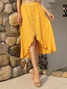 Yellow High Waist Ruffle Hem Hi-Lo Midi Skirt