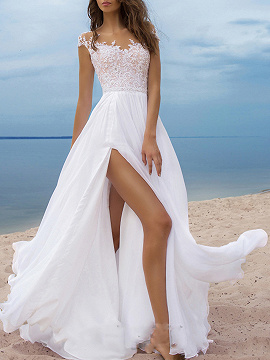 White Chiffon V-neck Open Back Sleeveless Maxi Party Dress