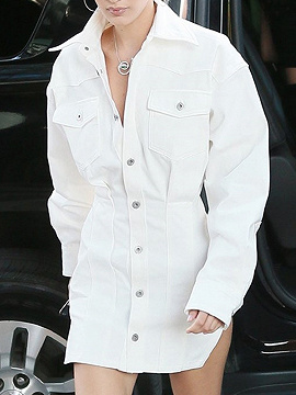 White Lapel Neck Button Placket Front Long Sleeve Mini Dress