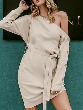 Beige Asymmetric Neck Tie Waist Long Sleeve Mini Dress