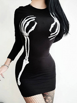 Black Hand Bone Print Long Sleeve Mini Dress