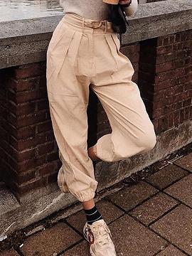 Beige High Waist Ankle-tied Pants