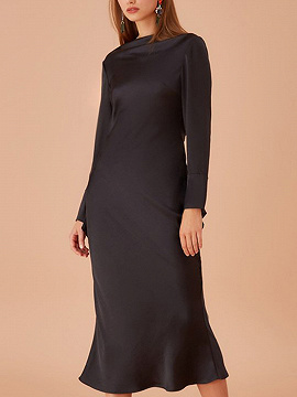 Black Open Back Long Sleeve Midi Dress