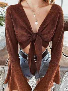 Brown Plunge Flare Sleeve Crop Top