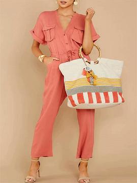Pink V-neck Drawstring Waist Romper Jumpsuit