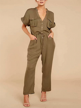 Army Green V-neck Drawstring Waist Romper Jumpsuit