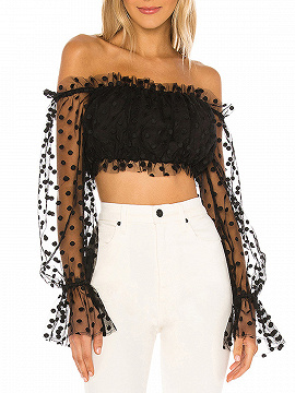 Black Off Shoulder Polka Dot Puff Sleeve Crop Top