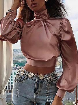 Pink Open Back Puff Sleeve Crop Top