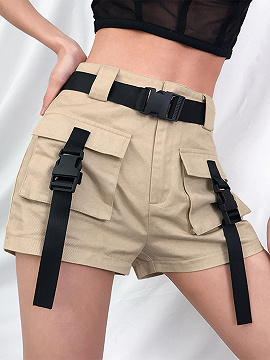 Khaki High Waist Buckle Strap Shorts