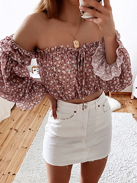 Pink Off Shoulder Floral Print Long Sleeve Crop Top