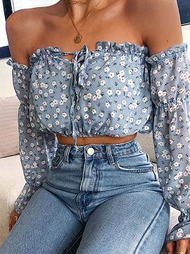 Blue Off Shoulder Floral Print Long Sleeve Crop Top
