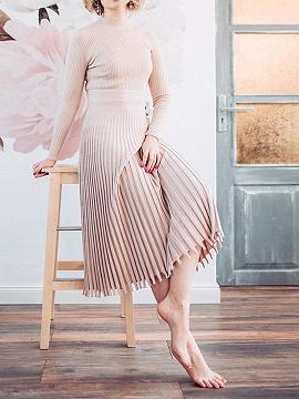 Nude Pleated Detail Long Sleeve Midi Dress