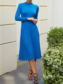 Blue Pleated Detail Long Sleeve Midi Dress