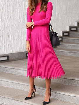 Hot Pink Pleated Detail Long Sleeve Midi Dress