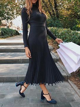 Black Pleated Detail Long Sleeve Midi Dress