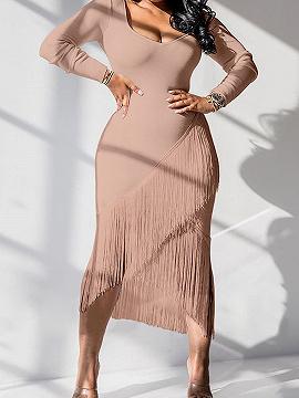 Pink Long Sleeve Bodycon Midi Dress
