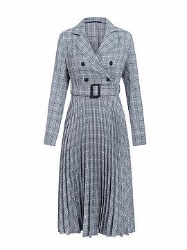 Gray Plaid Pleated Detail Long Sleeve Midi Dress