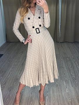 Beige Plaid Pleated Detail Long Sleeve Midi Dress