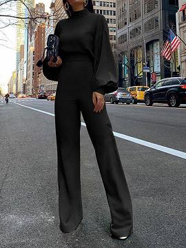 Black High Neck Long Sleeve Jumpsuit