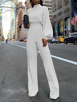 White High Neck Long Sleeve Jumpsuit