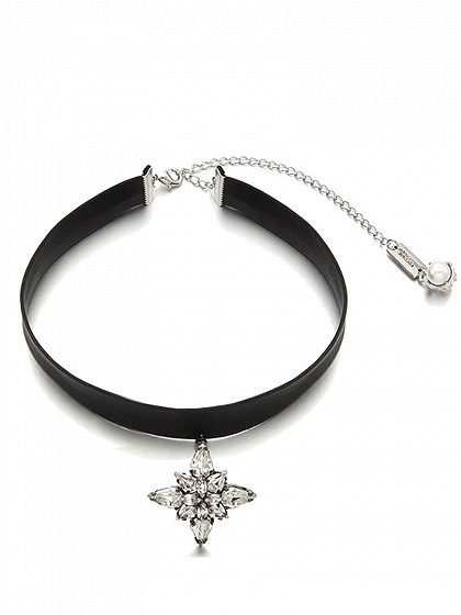 Leather Look Choker Necklace with Rhinestone Charm