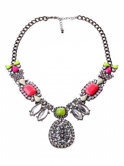 Diamante Stone Short Statement Necklace