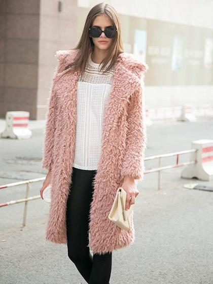 Pink Quality Lapel Long Line Soft Faux Fur Warm Coat