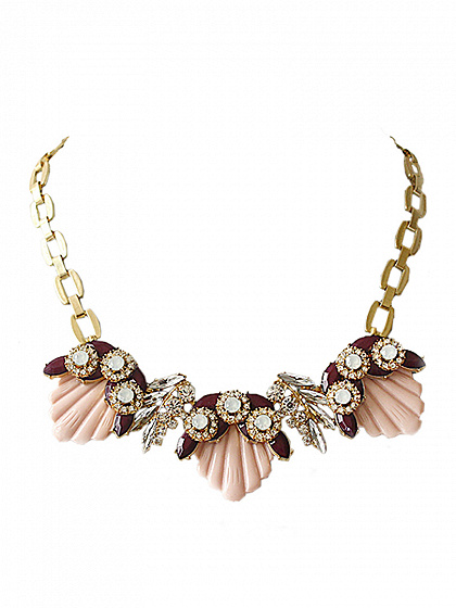Pink Shell Stone Chain Necklace