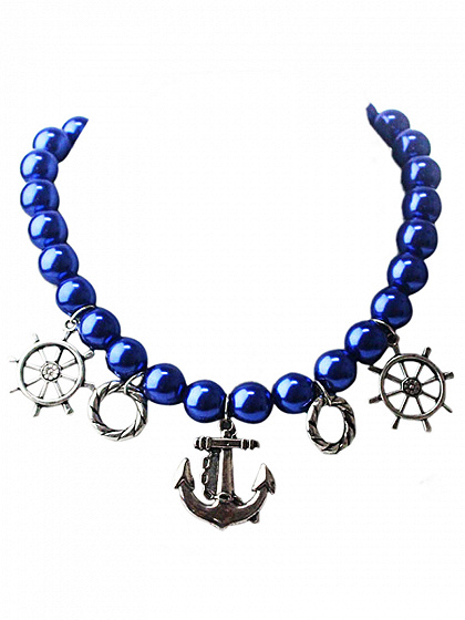 Navy Pearly Anchor Pendant Necklace