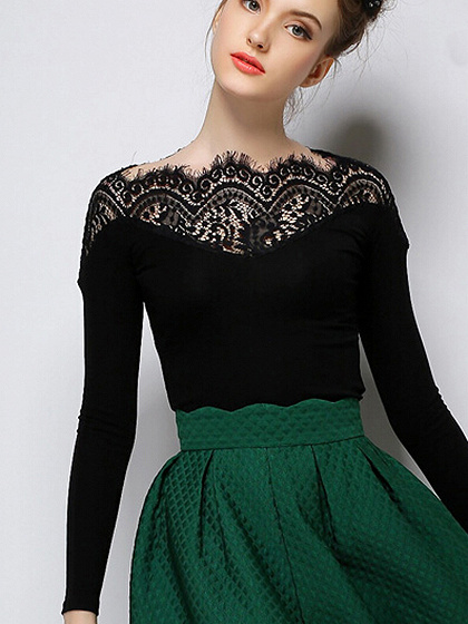 Black Lace Panel Tight Long Sleeve T-shirt