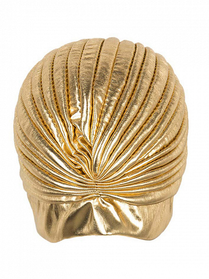 Golden PU Turban Hat